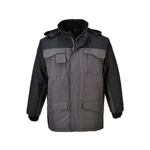 S562 - Ripstop kéttónusú kabát - fekete / szürke