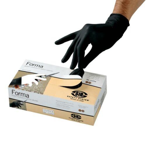 `FORMA` latex púderezett egyszerhasználatos fekete kesztyű 50db/doboz