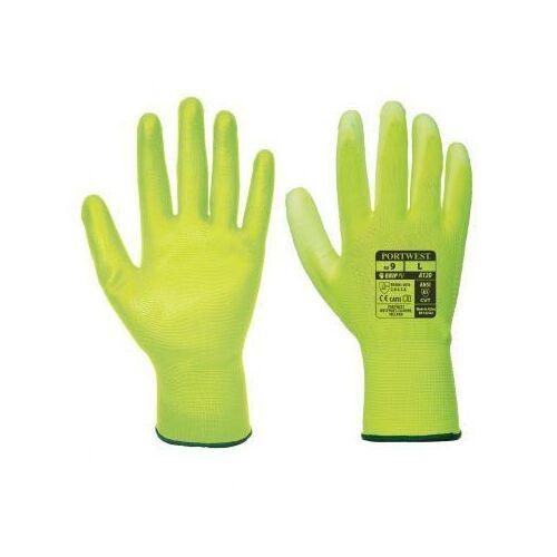 A120 - Nylon kesztyű PU tenyérmártott - citromsárga