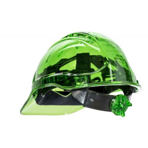 PV60 - Peak View Plus gyorsbeállítós, átlátszó védősisak, szellőző - zöld