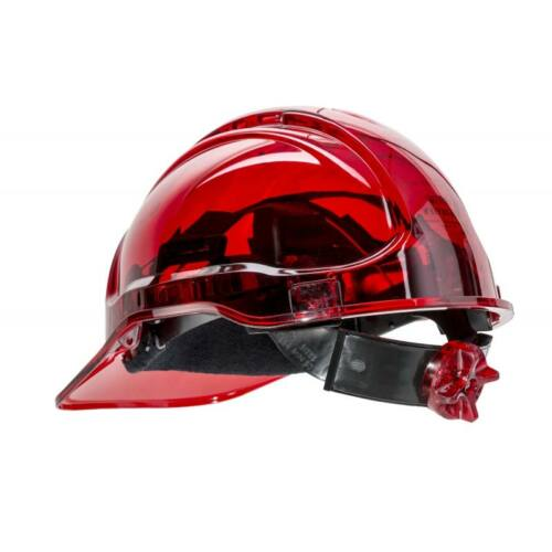 PV60 - Peak View Plus gyorsbeállítós, átlátszó védősisak, szellőző - piros
